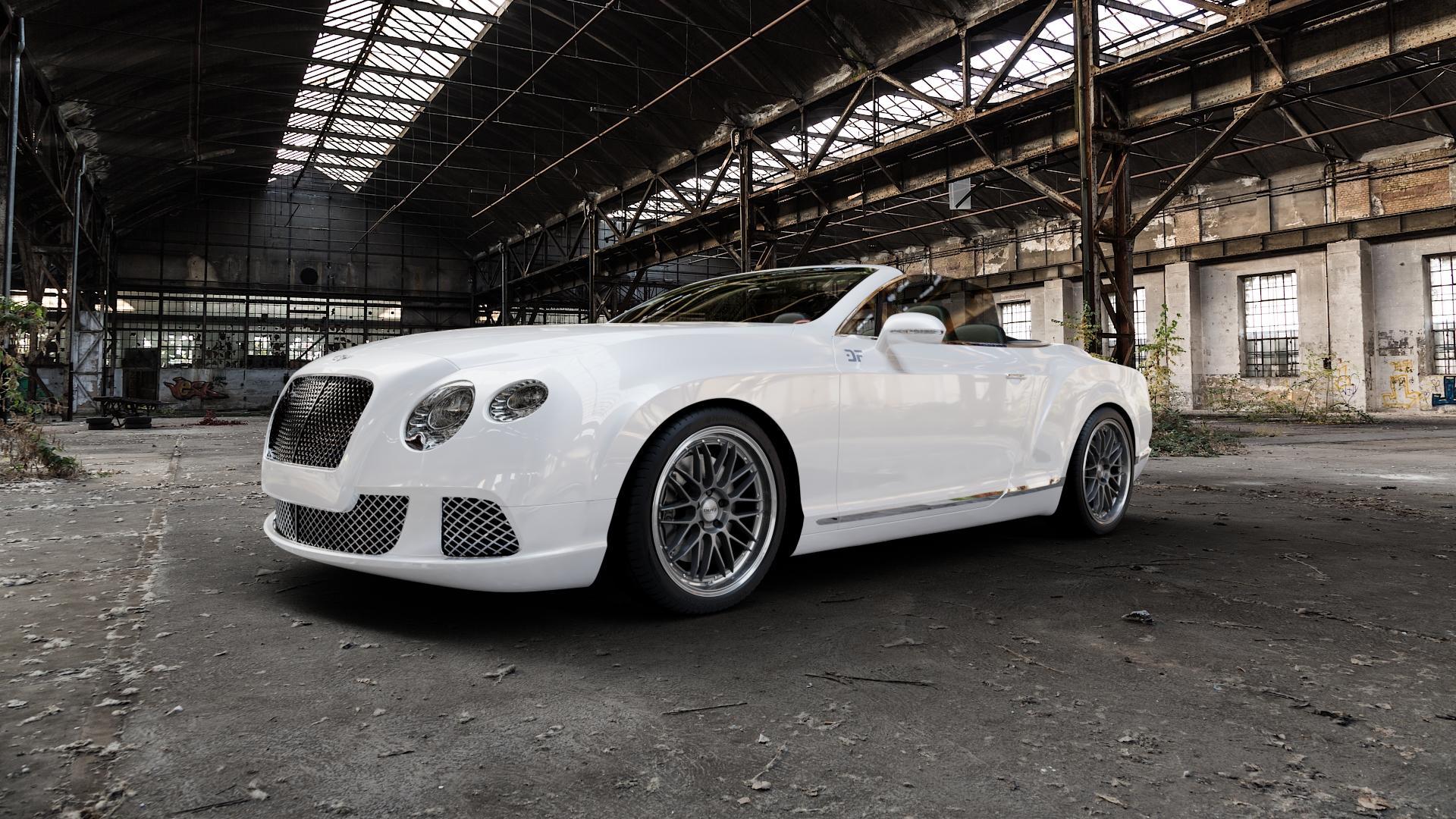 DOTZ REVVO GUNMETAL POLISHED Felge mit Reifen grau silber mehrfarbig in 20Zoll Alufelge auf weissem Bentley Continental Flying Spur GT GTC ⬇️ mit 15mm Tieferlegung ⬇️ Industriehalle 1 Camera_000