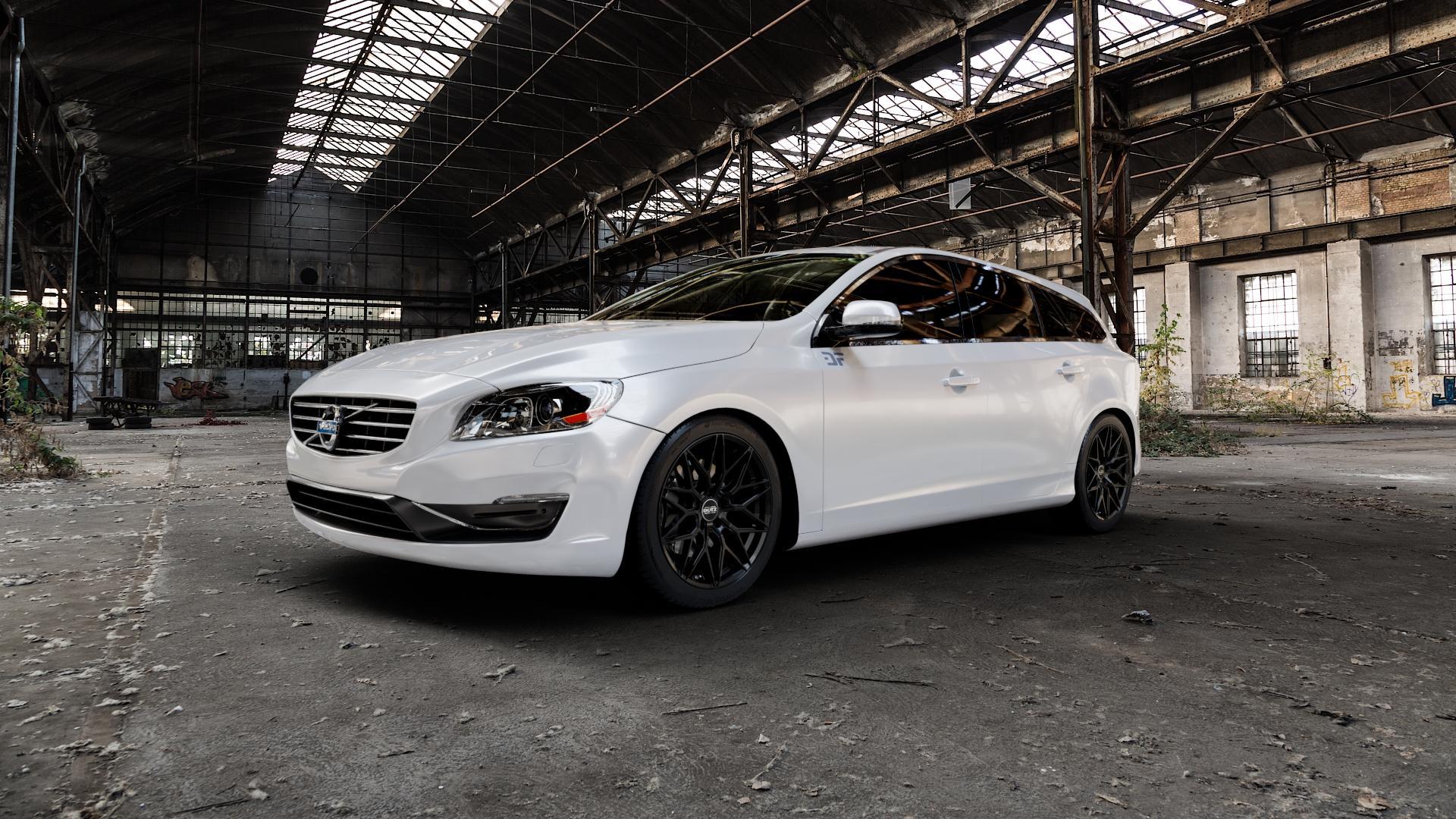 DOTZ SUZUKA BLACK Felge mit Reifen schwarz in 18Zoll Winterfelge Alufelge auf weissem Volvo V60 Typ G ⬇️ mit 15mm Tieferlegung ⬇️ Industriehalle 1 Camera_000