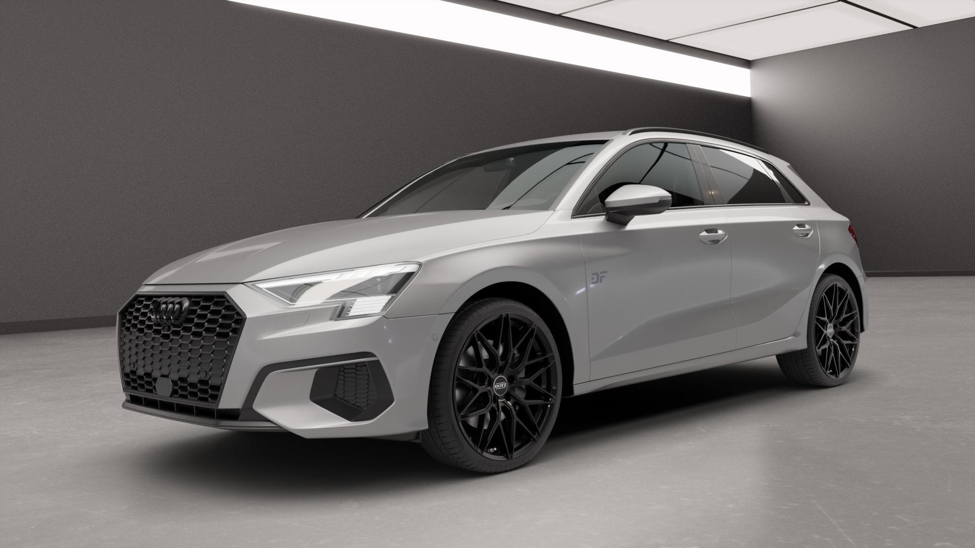 DOTZ SUZUKA BLACK Felge mit Reifen schwarz in 19Zoll Winterfelge Alufelge auf silbernem Audi A3 Typ GY (Sportback) ⬇️ mit 15mm Tieferlegung ⬇️ Neutral_near_max4650mm Frontansicht_1