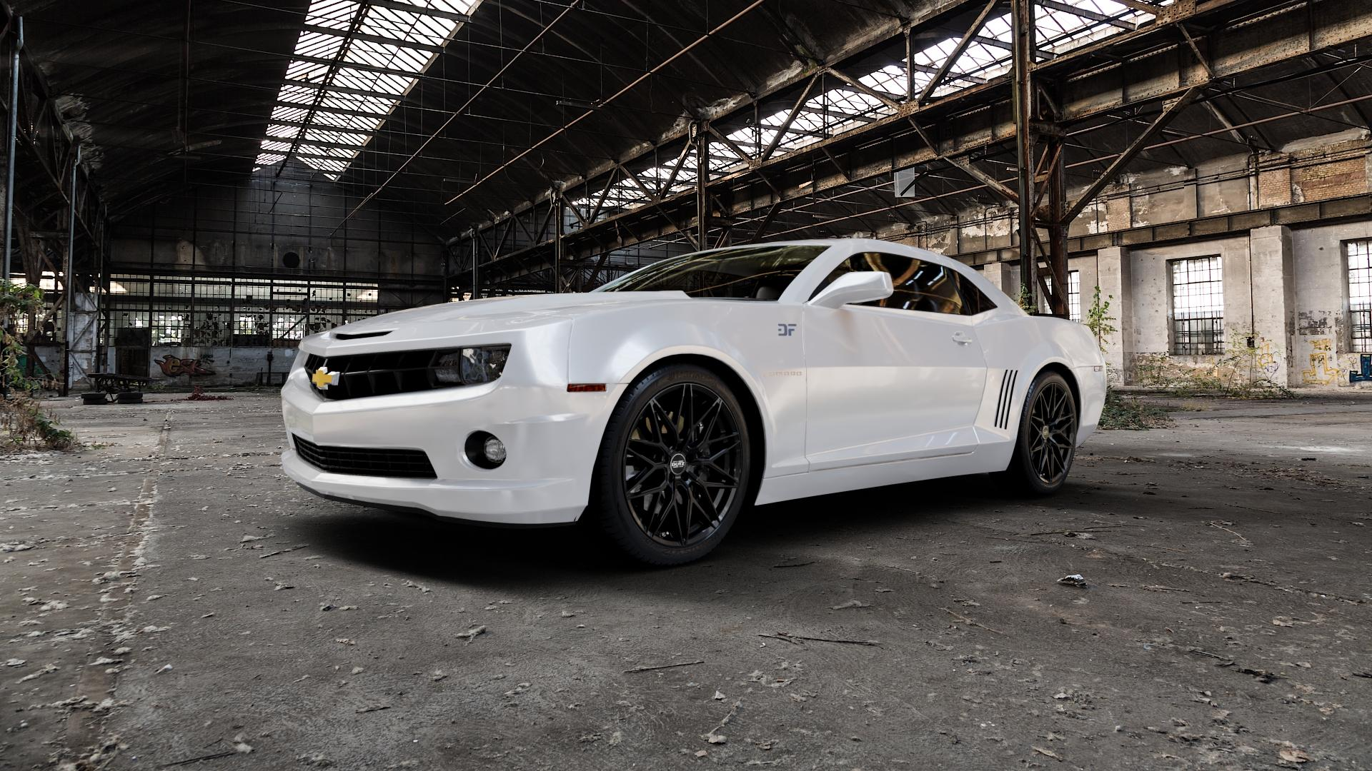 DOTZ SUZUKA BLACK Felge mit Reifen schwarz in 20Zoll Winterfelge Alufelge auf weissem Chevrolet Camaro V ⬇️ mit 15mm Tieferlegung ⬇️ Industriehalle 1 Camera_000