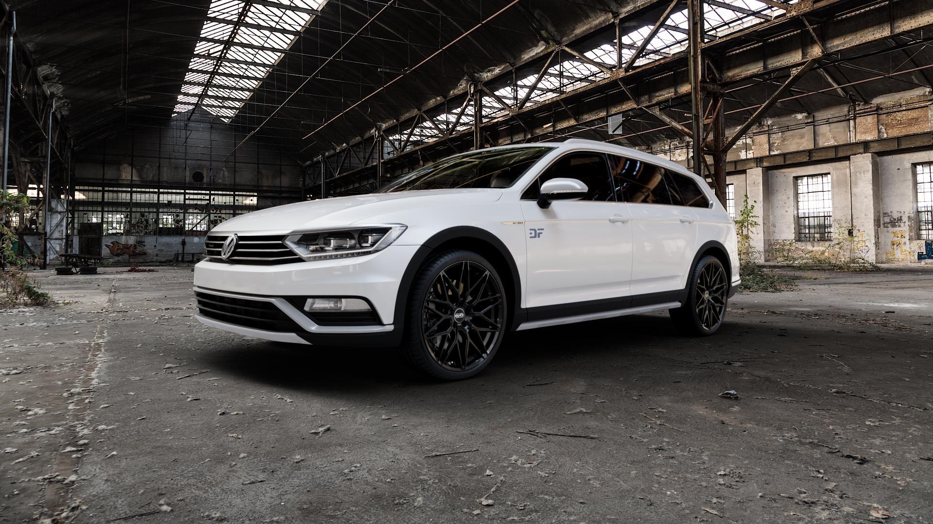DOTZ SUZUKA BLACK Felge mit Reifen schwarz in 20Zoll Winterfelge Alufelge auf weissem Volkswagen (VW) Passat 3C/B8 Alltrack ⬇️ mit 15mm Tieferlegung ⬇️ Industriehalle 1 Camera_000