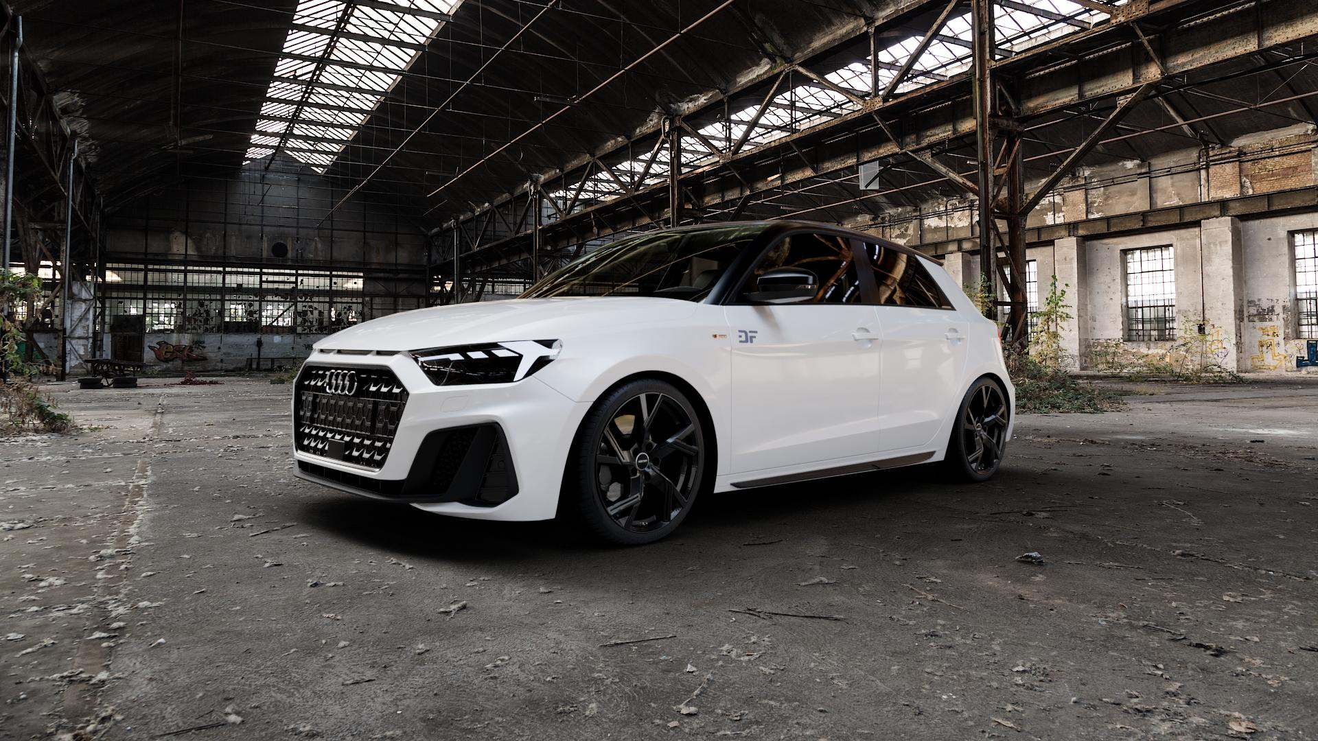 GMP Italia Angel Black glossy Felge mit Reifen schwarz in 18Zoll Winterfelge Alufelge auf weissem Audi A1 Typ GB (Sportback) ⬇️ mit 15mm Tieferlegung ⬇️ Industriehalle 1 Camera_000