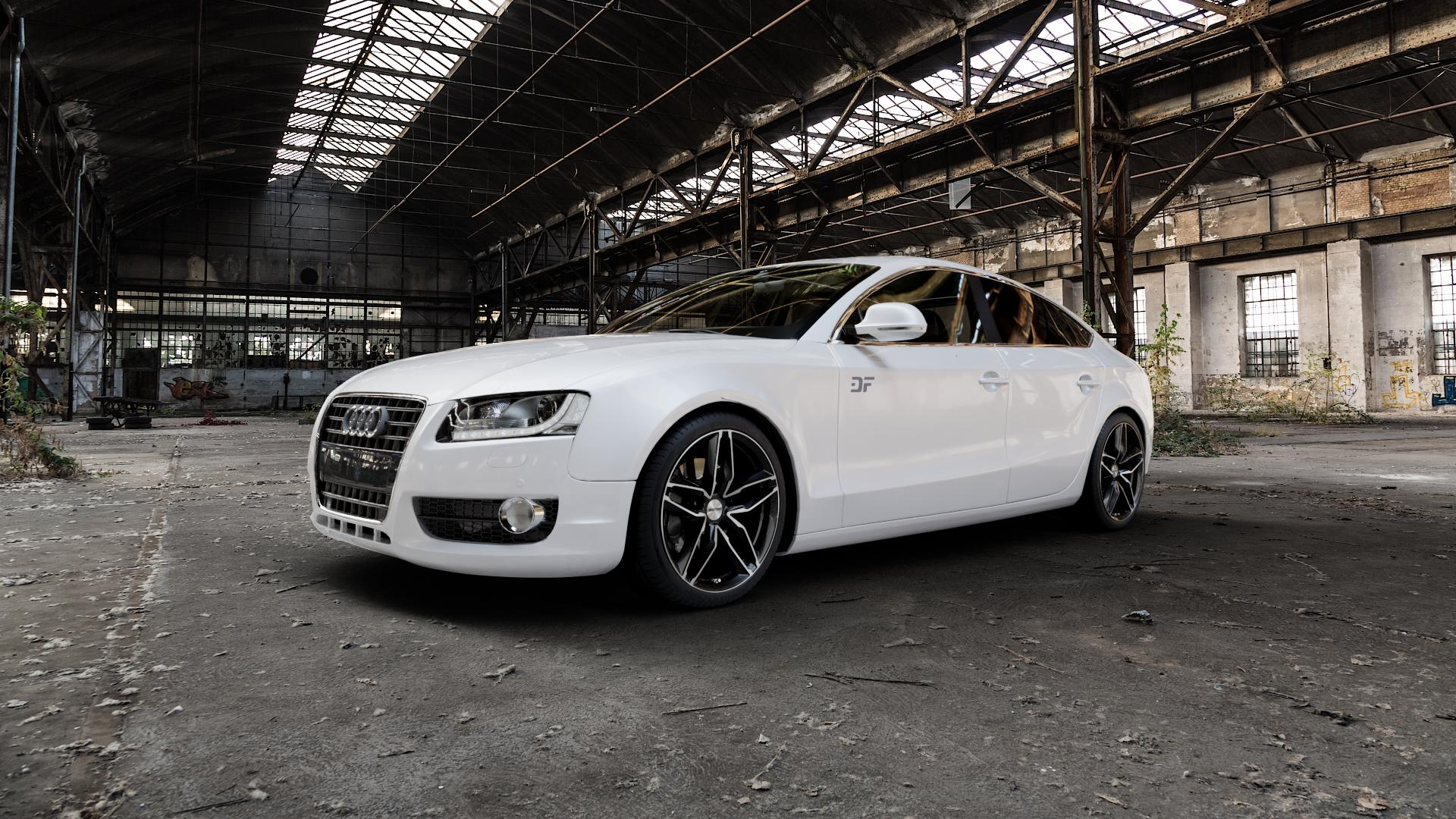 GMP Italia Atom Black diamond Felge mit Reifen schwarz in 19Zoll Alufelge auf weissem Audi A5 Typ B8 (Sportback) ⬇️ mit 15mm Tieferlegung ⬇️ Industriehalle 1 Camera_000
