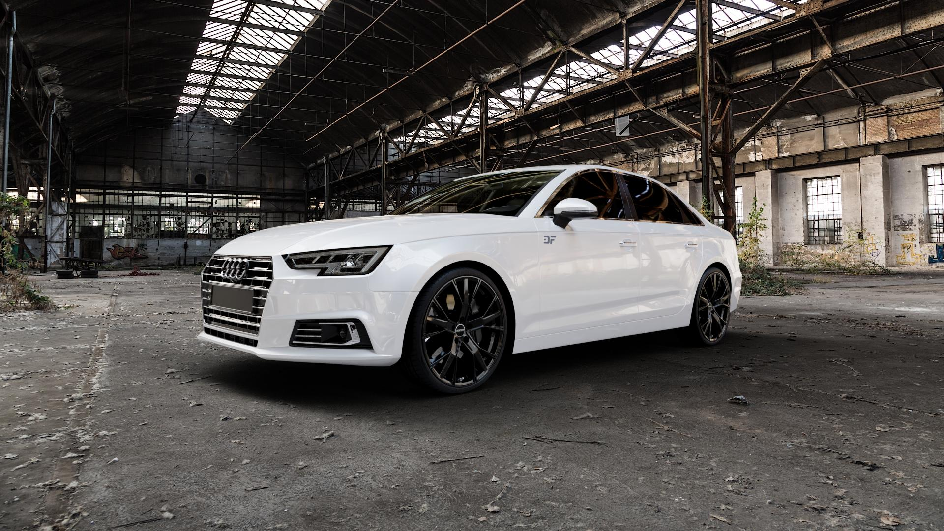 GMP Italia Gunner Black glossy Felge mit Reifen schwarz in 20Zoll Winterfelge Alufelge auf weissem Audi A4 Typ B9 (Limousine) ⬇️ mit 15mm Tieferlegung ⬇️ Industriehalle 1 Camera_000