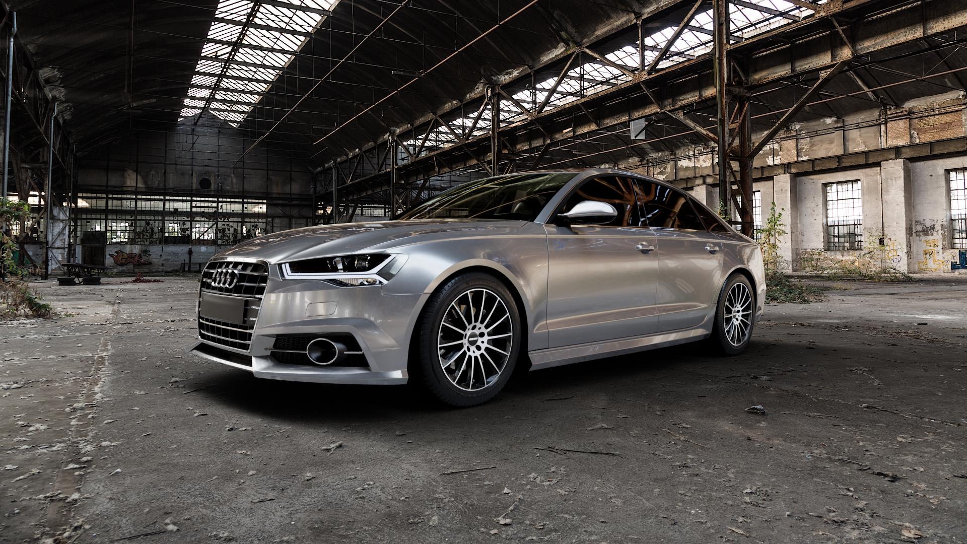 GMP Italia Stellar Black diamond Felge mit Reifen schwarz in 18Zoll Alufelge auf silbernem Audi A6 Typ 4G/C7 (Limousine) Facelift ⬇️ mit 15mm Tieferlegung ⬇️ Industriehalle 1 Camera_000