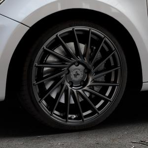 KESKIN KT17 MATT BLACK PAINTED Felge mit Reifen schwarz in 18Zoll Winterfelge Alufelge auf silbernem Audi A1 Typ 8X ⬇️ mit 15mm Tieferlegung ⬇️ Industriehalle 1 Thumbnail