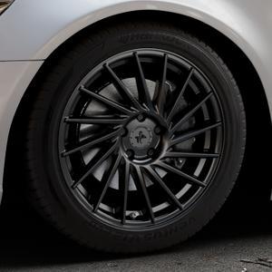KESKIN KT17 MATT BLACK PAINTED Felge mit Reifen schwarz in 18Zoll Winterfelge Alufelge auf silbernem Audi A6 Typ 4G/C7 (Limousine) ⬇️ mit 15mm Tieferlegung ⬇️ Industriehalle 1 Thumbnail