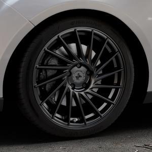KESKIN KT17 MATT BLACK PAINTED Felge mit Reifen schwarz in 18Zoll Winterfelge Alufelge auf silbernem Ford Focus III Typ DYB Facelift (Turnier) ⬇️ mit 15mm Tieferlegung ⬇️ Industriehalle 1 Thumbnail