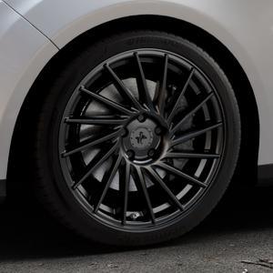 KESKIN KT17 MATT BLACK PAINTED Felge mit Reifen schwarz in 18Zoll Winterfelge Alufelge auf silbernem Ford Focus III Typ DYB (Turnier) ⬇️ mit 15mm Tieferlegung ⬇️ Industriehalle 1 Thumbnail