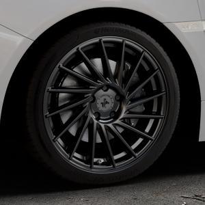 KESKIN KT17 MATT BLACK PAINTED Felge mit Reifen schwarz in 18Zoll Winterfelge Alufelge auf silbernem Subaru WRX Typ V1 2,5l STI AWD 221kW (300 PS) ⬇️ mit 15mm Tieferlegung ⬇️ Industriehalle 1 Thumbnail