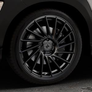 KESKIN KT17 MATT BLACK PAINTED Felge mit Reifen schwarz in 19Zoll Winterfelge Alufelge auf silbernem Hyundai Kona Typ OS ⬇️ mit 15mm Tieferlegung ⬇️ Industriehalle 1 Thumbnail