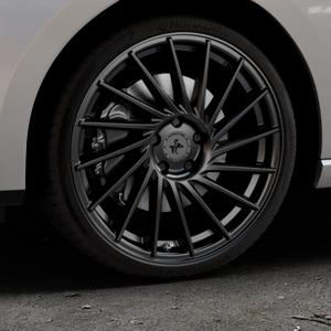 KESKIN KT17 MATT BLACK PAINTED Felge mit Reifen schwarz in 19Zoll Winterfelge Alufelge auf silbernem Seat Leon Typ 5F ST Facelift ⬇️ mit 15mm Tieferlegung ⬇️ Industriehalle 1 Thumbnail