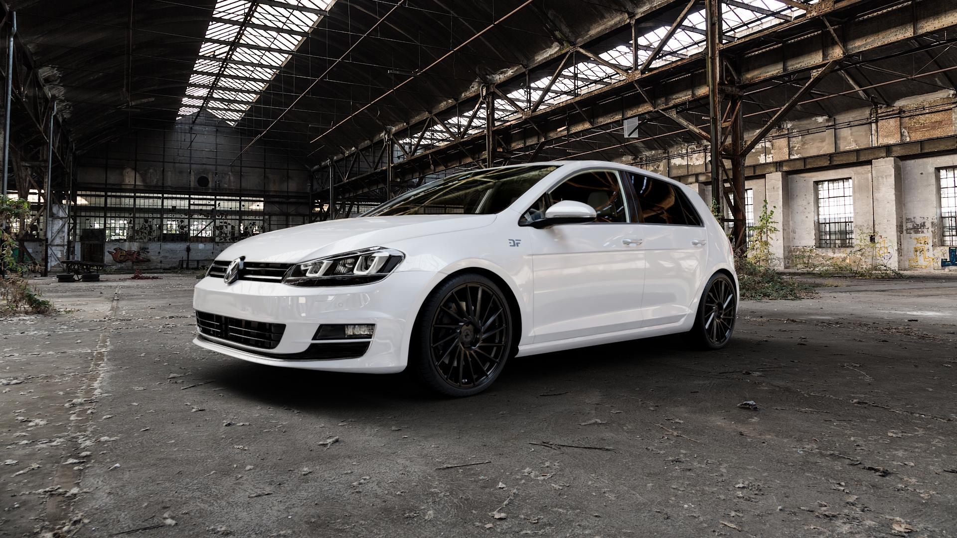 KESKIN KT17 MATT BLACK PAINTED Felge mit Reifen schwarz in 19Zoll Winterfelge Alufelge auf weissem Volkswagen (VW) Golf 7 ⬇️ mit 15mm Tieferlegung ⬇️ Industriehalle 1 Camera_000