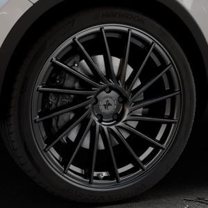 KESKIN KT17 MATT BLACK PAINTED Felge mit Reifen schwarz in 22Zoll Winterfelge Alufelge auf silbernem Volkswagen (VW) Touareg II Typ 7P Facelift ⬇️ mit 15mm Tieferlegung ⬇️ Industriehalle 1 Thumbnail
