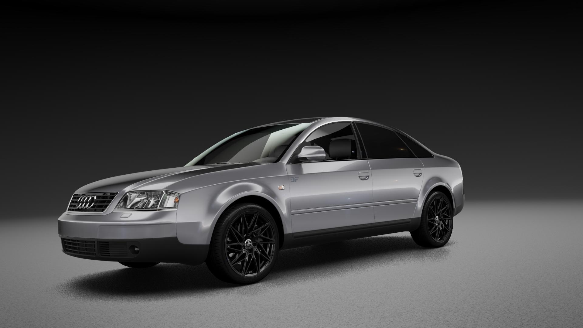 KESKIN KT20 BLACK PAINTED Felge mit Reifen schwarz in 18Zoll Winterfelge Alufelge auf silbernem Audi A6 Typ 4B/C5 (Limousine) ⬇️ mit 15mm Tieferlegung ⬇️ Neutral_mid_max5300mm Frontansicht_1