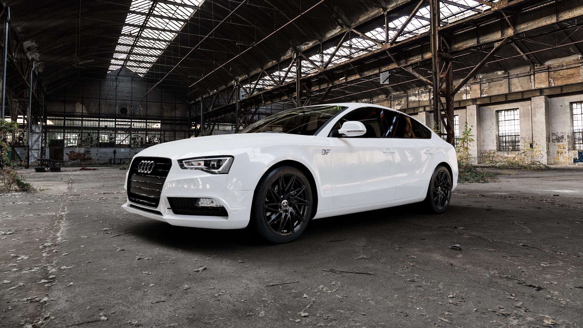 KESKIN KT20 BLACK PAINTED Felge mit Reifen schwarz in 18Zoll Winterfelge Alufelge auf weissem Audi A5 Typ B8 (Sportback) Facelift ⬇️ mit 15mm Tieferlegung ⬇️ Industriehalle 1 Camera_000