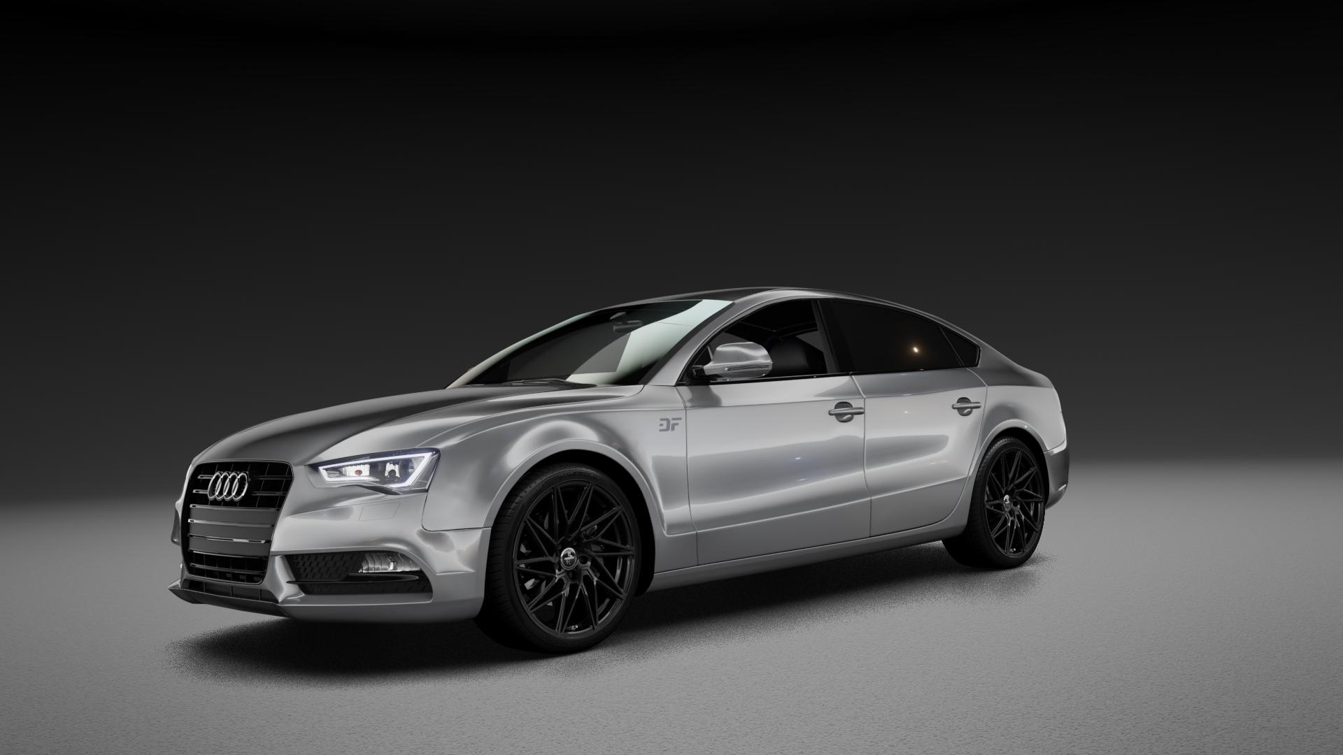 KESKIN KT20 BLACK PAINTED Felge mit Reifen schwarz in 19Zoll Winterfelge Alufelge auf silbernem Audi A5 Typ B8 (Sportback) Facelift ⬇️ mit 15mm Tieferlegung ⬇️ Neutral_mid_max5300mm Frontansicht_1