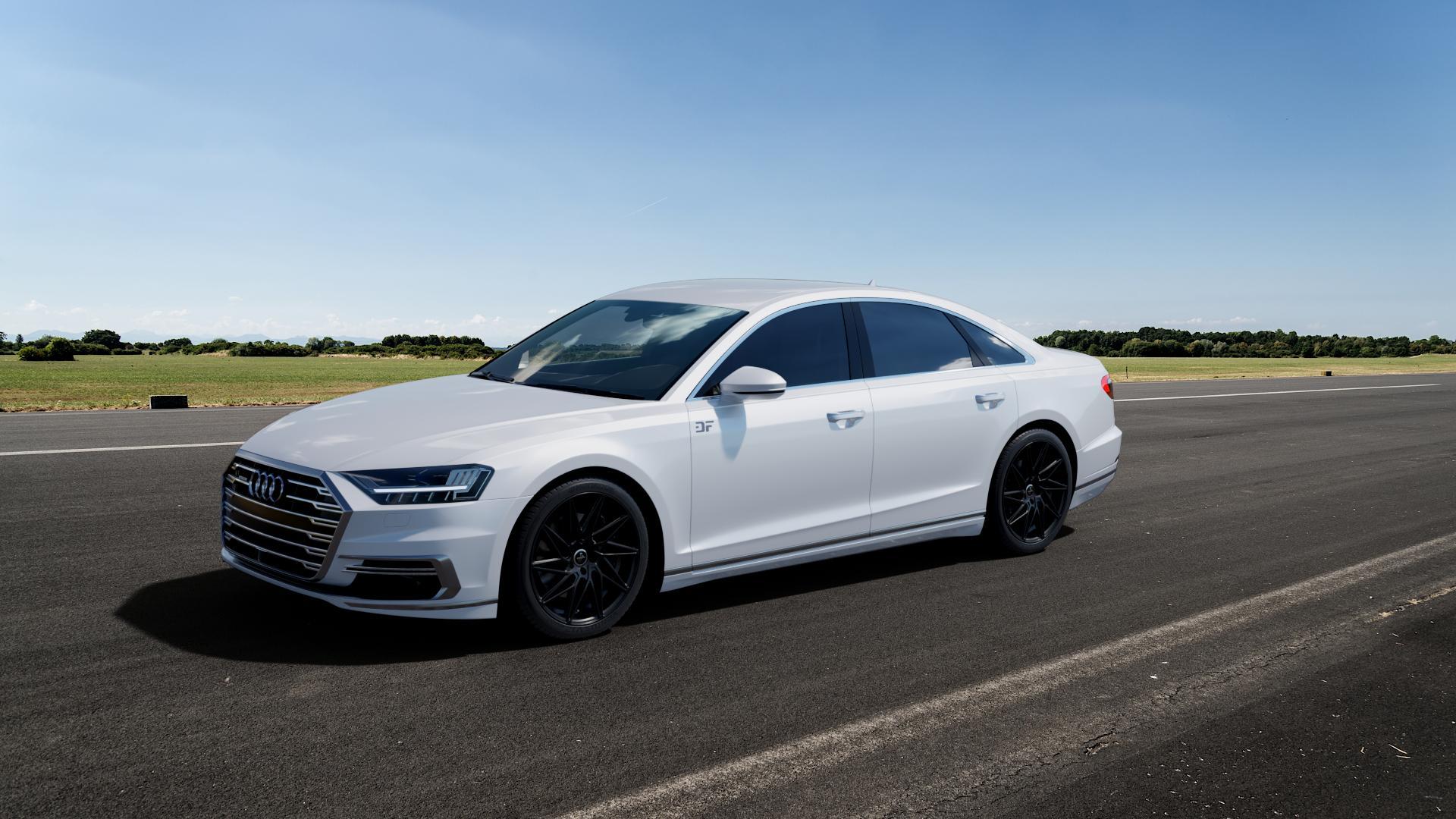 KESKIN KT20 BLACK PAINTED Felge mit Reifen schwarz in 20Zoll Winterfelge Alufelge auf weissem Audi A8 Typ D5/F8 3,0l 60 TFSI e quattro 250kW (340 PS) Hybrid 4,0l 338kW (460 420kW S8 (571 TDI 210kW (286 320kW (435 ⬇️ mit 15mm Tieferlegung ⬇️ Big_Vehicle_Airstrip_1 Frontansicht_1