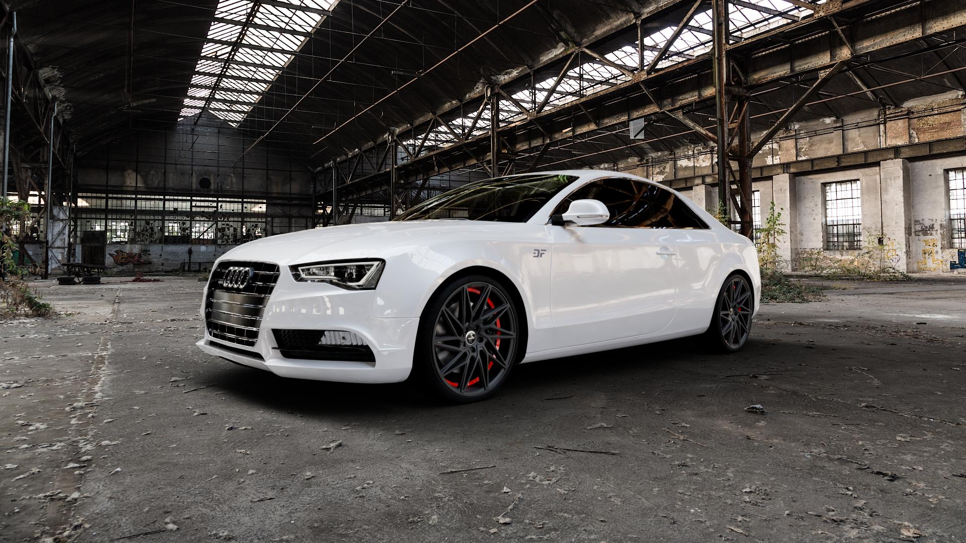 KESKIN KT20 BLACK PAINTED RED INSIDE Felge mit Reifen schwarz rot in 20Zoll Winterfelge Alufelge auf weissem Audi A5 Typ B8 (Coupé) Facelift ⬇️ mit 15mm Tieferlegung ⬇️ Industriehalle 1 Camera_000