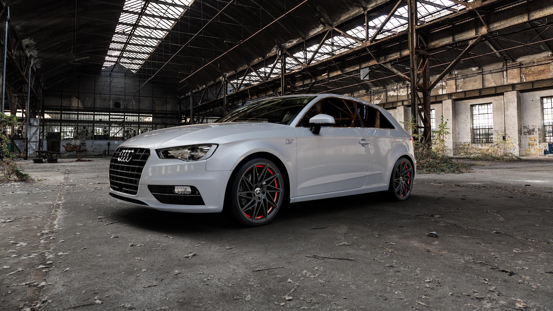KESKIN KT20 MATT BLACK RED INSIDE Felge mit Reifen schwarz rot in 19Zoll Winterfelge Alufelge auf silbernem Audi A3 Typ 8V ⬇️ mit 15mm Tieferlegung ⬇️ Industriehalle 1 Camera_000