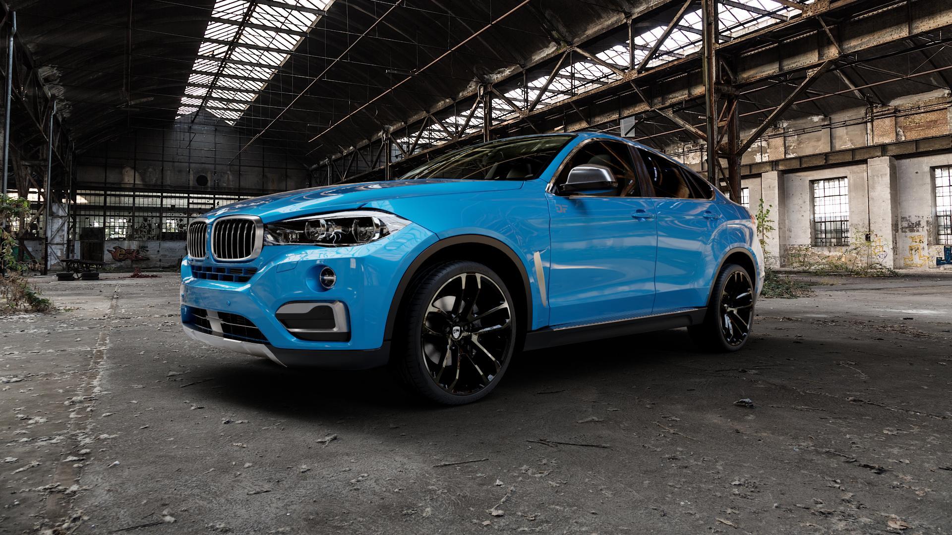 Lumma Design CLR Racing Black Smoke Felge mit Reifen schwarz in 22Zoll Winterfelge Alufelge auf hellblau BMW X6 Typ F16 (X6, X-N1) ⬇️ mit 15mm Tieferlegung ⬇️ Industriehalle 1 Camera_000
