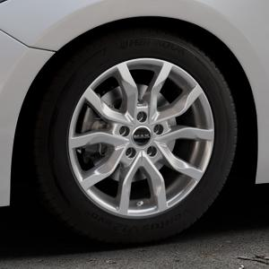 MAK Highlands Silver Felge mit Reifen silber in 16Zoll Winterfelge Alufelge auf silbernem Mazda 3 (13-) Stufenheck (BM) Sport (17-) Facelift Fließheck ⬇️ mit 15mm Tieferlegung ⬇️ Industriehalle 1 Thumbnail