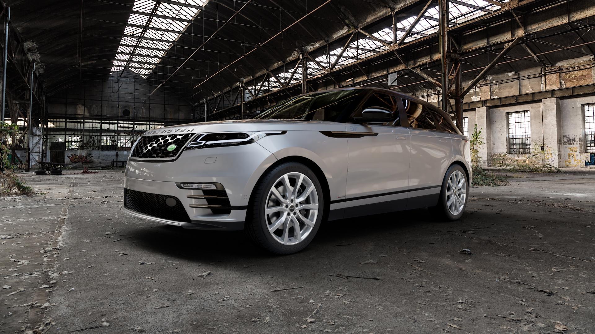 MAK Highlands Silver Felge mit Reifen silber in 21Zoll Winterfelge Alufelge auf silbernem Land Rover Range Velar Typ LY ⬇️ mit 15mm Tieferlegung ⬇️ Industriehalle 1 Camera_000
