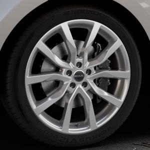 MAK Highlands Silver Felge mit Reifen silber in 21Zoll Winterfelge Alufelge auf silbernem Land Rover Range Velar Typ LY ⬇️ mit 15mm Tieferlegung ⬇️ Industriehalle 1 Thumbnail