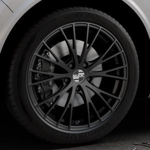 MAK Rennen Matt black Felge mit Reifen schwarz in 20Zoll Winterfelge Alufelge auf silbernem Alfa Romeo Stelvio Typ 949 ⬇️ mit 15mm Tieferlegung ⬇️ Industriehalle 1 Thumbnail