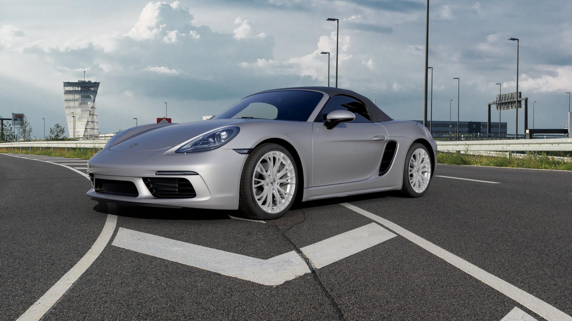 MAK Rennen Silver Felge mit Reifen silber in 19Zoll Winterfelge Alufelge auf silbernem Porsche 718 Boxster Typ 982 ⬇️ mit 15mm Tieferlegung ⬇️ Autobahn_1 Camera_000