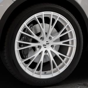 MAK Rennen Silver Felge mit Reifen silber in 21Zoll Winterfelge Alufelge auf silbernem Volkswagen (VW) Touareg II Typ 7P Facelift ⬇️ mit 15mm Tieferlegung ⬇️ Industriehalle 1 Thumbnail