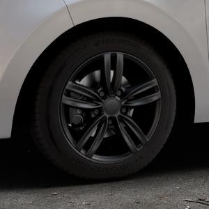 MAK Sachsen Matt black Felge mit Reifen schwarz in 14Zoll Winterfelge Alufelge auf silbernem Citroen C1 II ⬇️ mit 15mm Tieferlegung ⬇️ Industriehalle 1 Thumbnail