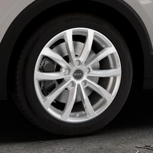 MAK Wolf Silver Felge mit Reifen silber in 17Zoll Winterfelge Alufelge auf silbernem Volkswagen (VW) T-Cross ⬇️ mit 15mm Tieferlegung ⬇️ Industriehalle 1 Thumbnail