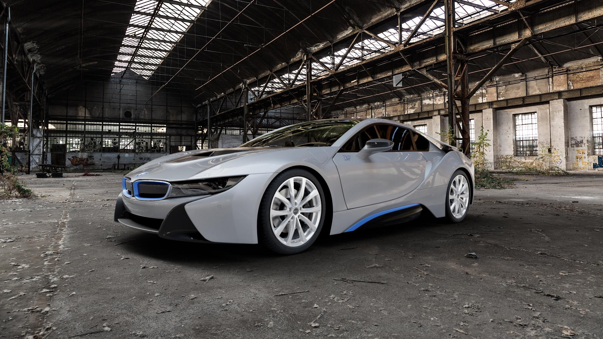 MAK Wolf Silver Felge mit Reifen silber in 20Zoll Winterfelge Alufelge auf silbernem BMW i8 Coupe (BMWi-2) ⬇️ mit 15mm Tieferlegung ⬇️ Industriehalle 1 Camera_000