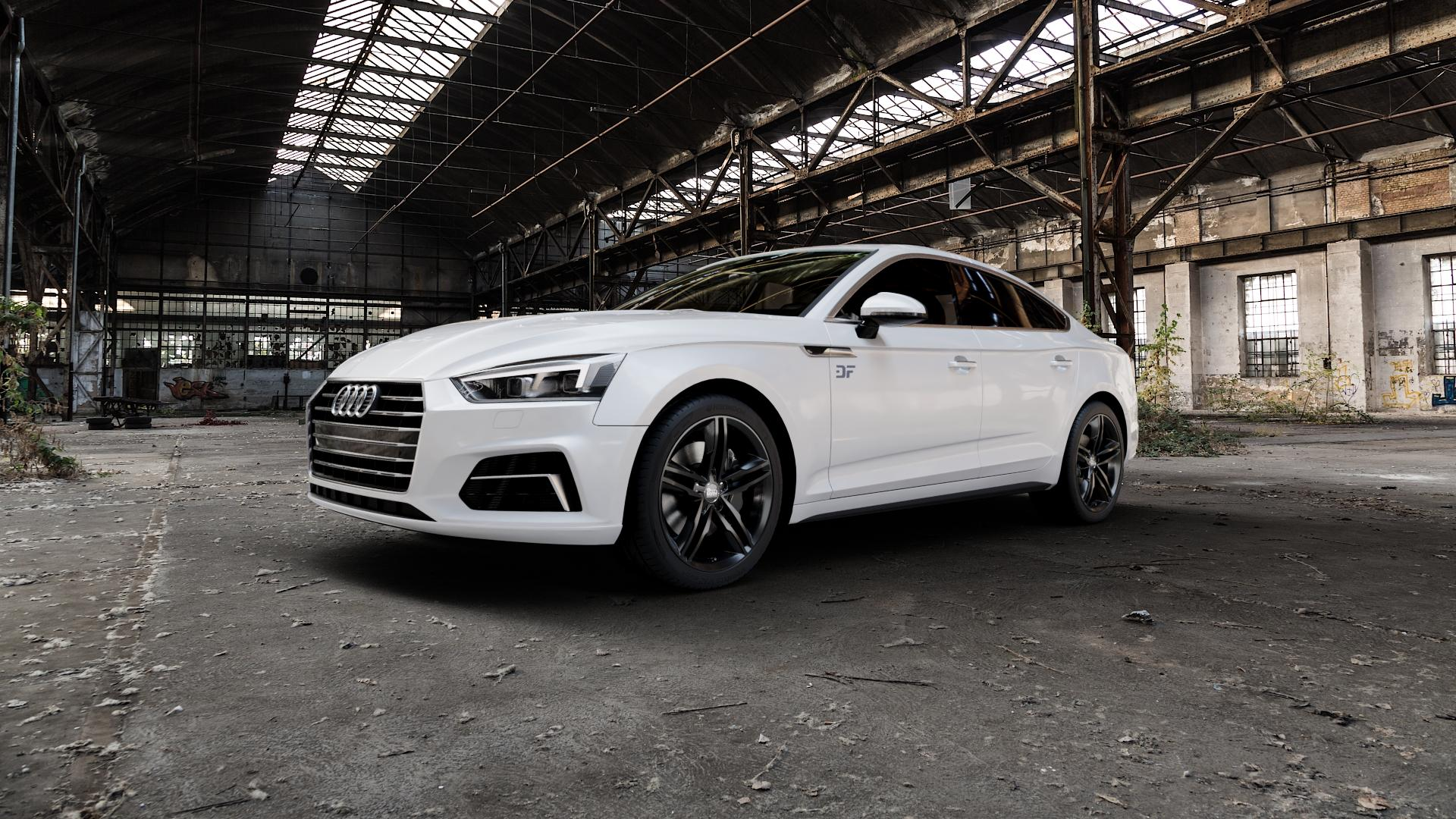 MAM A1 BLACK PAINTED Felge mit Reifen schwarz in 18Zoll Winterfelge Alufelge auf weissem Audi A5 Typ B9 (Sportback) 2,0l TDI 140kW (190 PS) quattro TFSI 185kW (252 3,0l 160kW (218 200kW (272 1,4l 110kW (150 183kW (249 g-tron 125kW (170 Mild-Hybrid 100kW (136 210kW (286 45 180kW (245 35 40 50 170kW (231 120kW (163 30 ⬇️ mit 15mm Ti