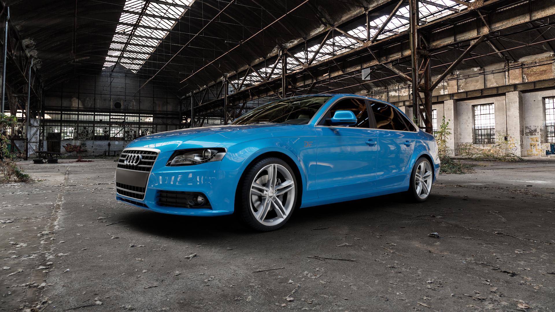 MAM A1 SILVER PAINTED Felge mit Reifen silber in 19Zoll Winterfelge Alufelge auf hellblau Audi A4 Typ 8K2/B8 (Limousine) ⬇️ mit 15mm Tieferlegung ⬇️ Industriehalle 1 Camera_000