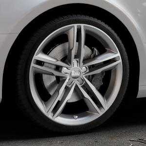 MAM A1 SILVER PAINTED Felge mit Reifen silber in 19Zoll Winterfelge Alufelge auf silbernem Audi A4 Typ 8K2/B8 (Limousine) ⬇️ mit 15mm Tieferlegung ⬇️ Industriehalle 1 Thumbnail