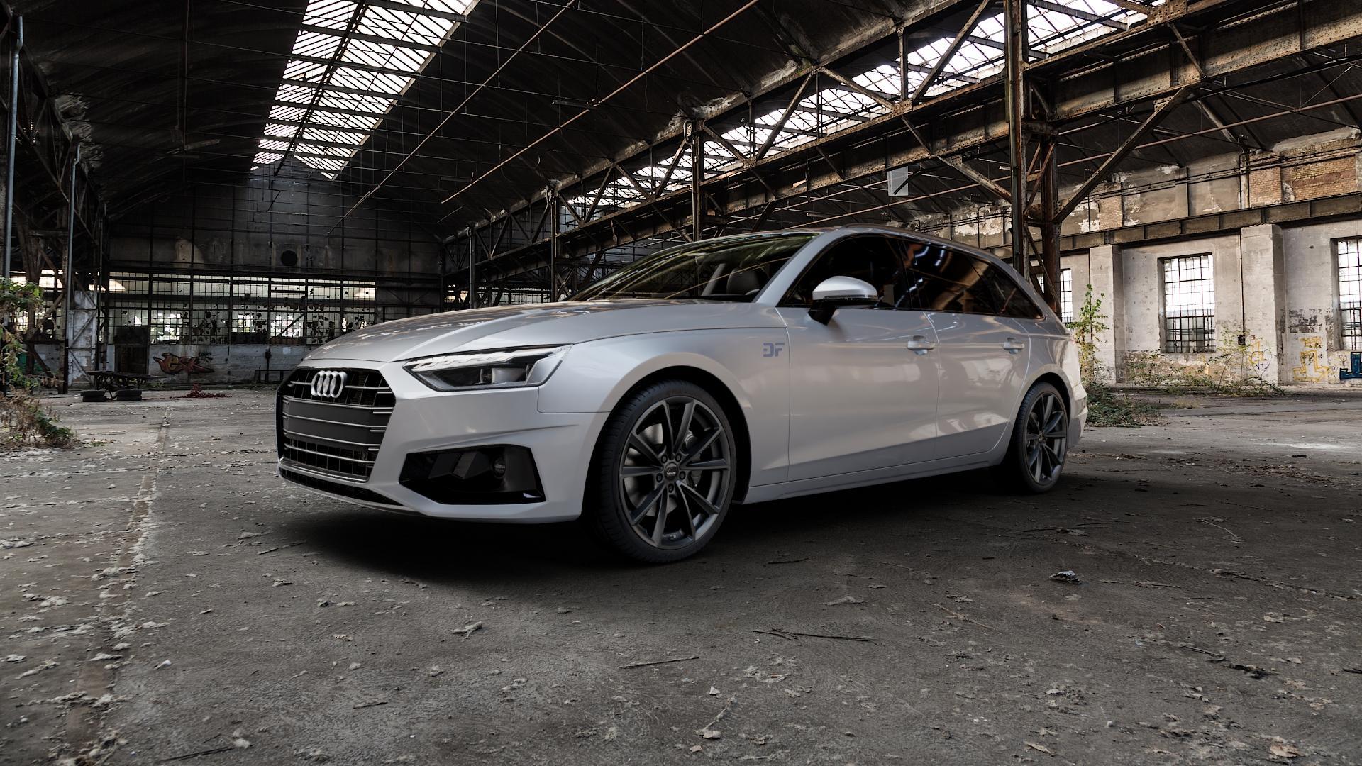 MAM A5 MATT BLACK PAINTED Felge mit Reifen schwarz in 19Zoll Winterfelge Alufelge auf silbernem Audi A4 Typ B9 (Avant) Facelift ⬇️ mit 15mm Tieferlegung ⬇️ Industriehalle 1 Camera_000
