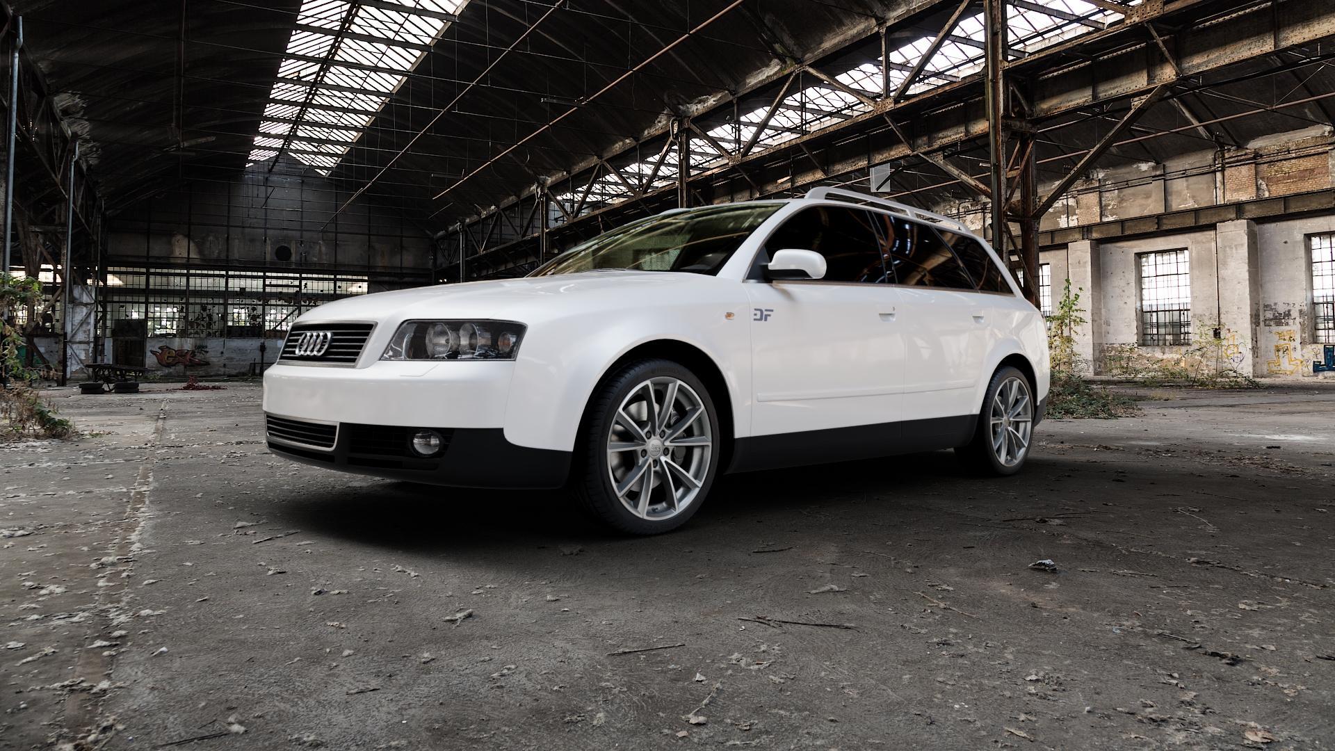 MAM A5 PALLADIUM FRONT POLISH Felge mit Reifen grau silber mehrfarbig in 18Zoll Winterfelge Alufelge auf weissem Audi A4 Typ 8E5/B6 (Avant) ⬇️ mit 15mm Tieferlegung ⬇️ Industriehalle 1 Camera_000