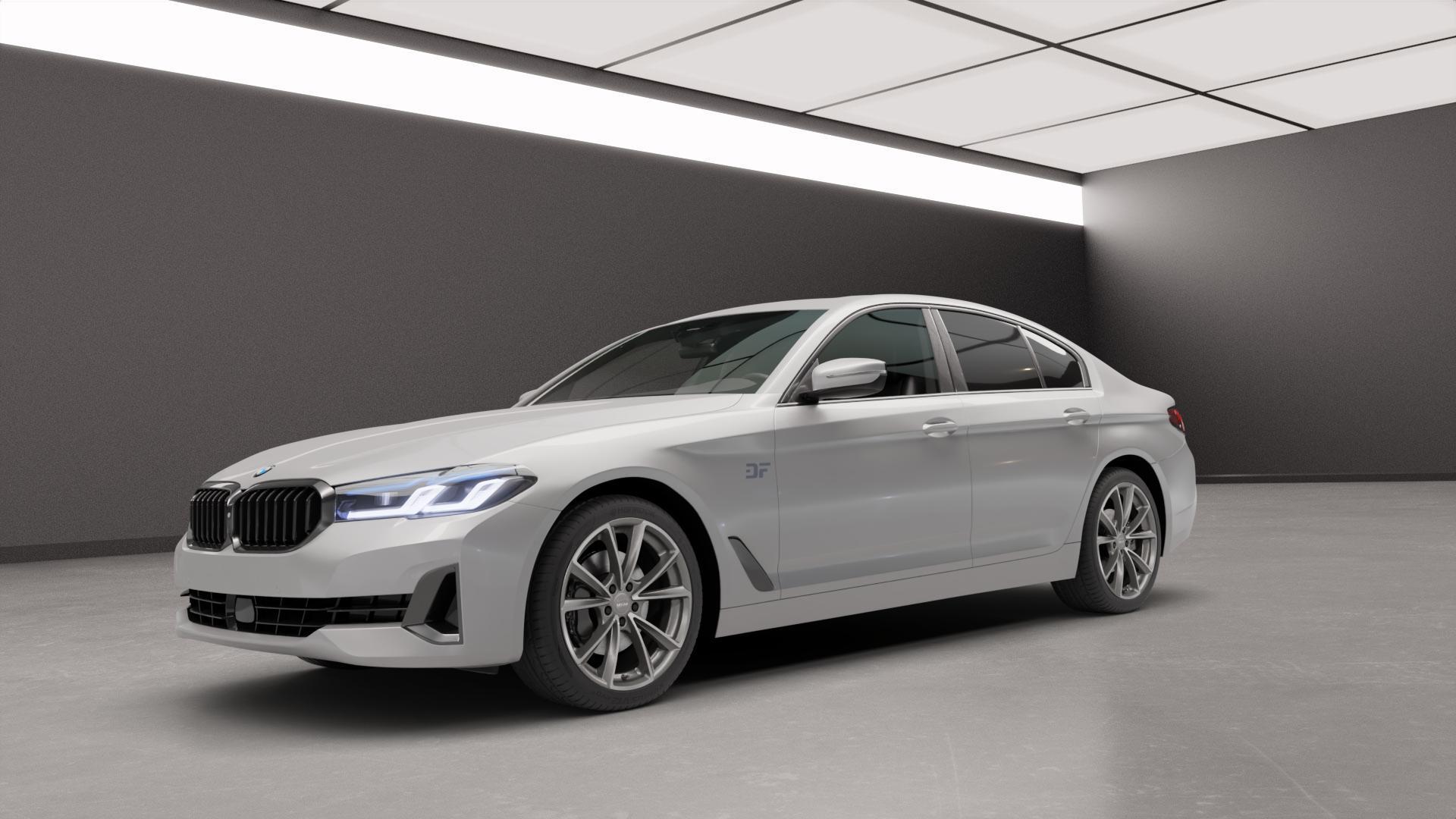 MAM A5 PALLADIUM FRONT POLISH Felge mit Reifen grau silber mehrfarbig in 19Zoll Alufelge auf silbernem BMW 5er G30 Limousine (G5L) Facelift ⬇️ mit 15mm Tieferlegung ⬇️ Neutral_mid_max5300mm Frontansicht_1