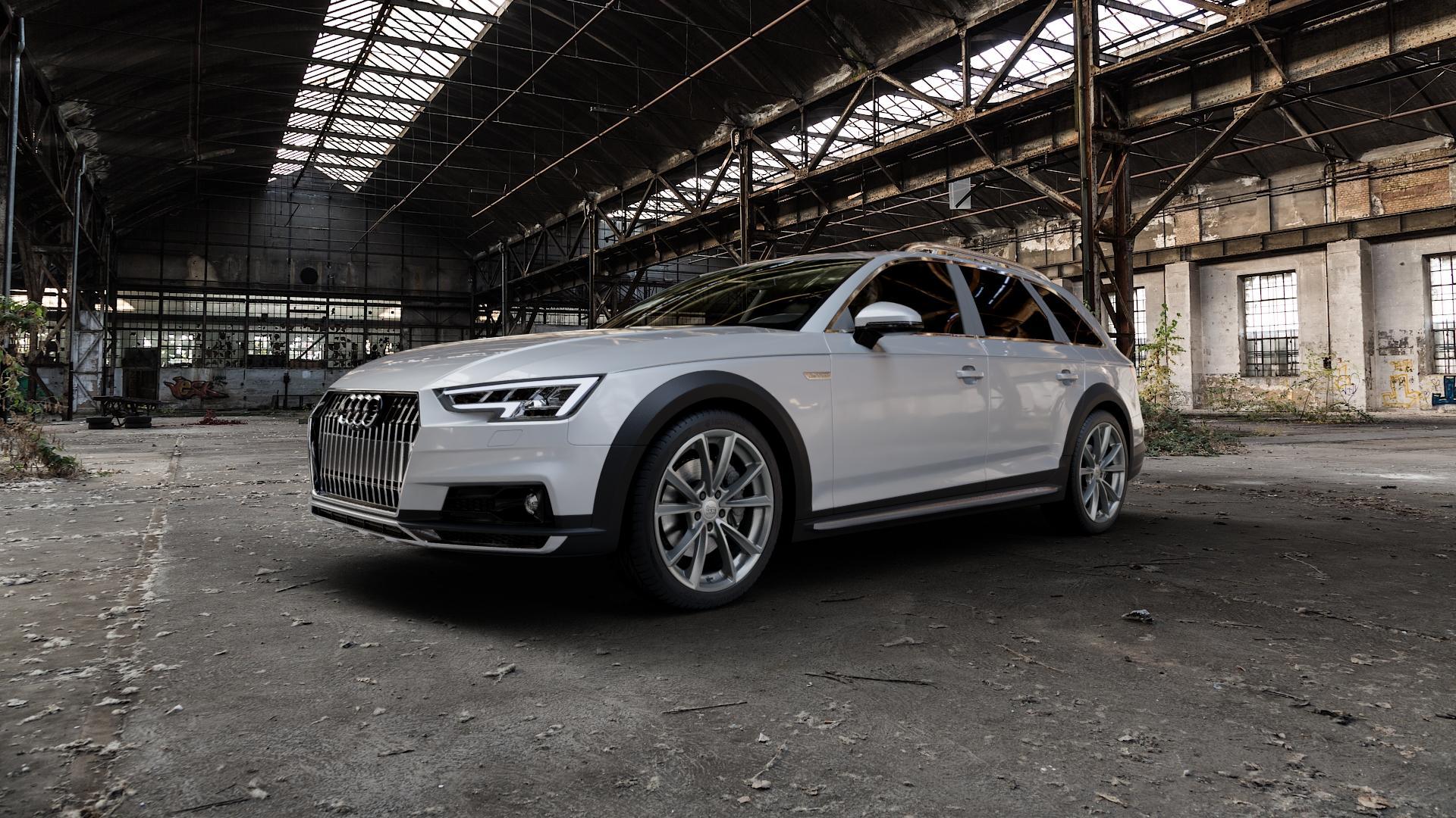 MAM A5 PALLADIUM PAINTED Felge mit Reifen grau in 19Zoll Winterfelge Alufelge auf silbernem Audi A4 Typ B9 Allroad ⬇️ mit 15mm Tieferlegung ⬇️ Industriehalle 1 Camera_000