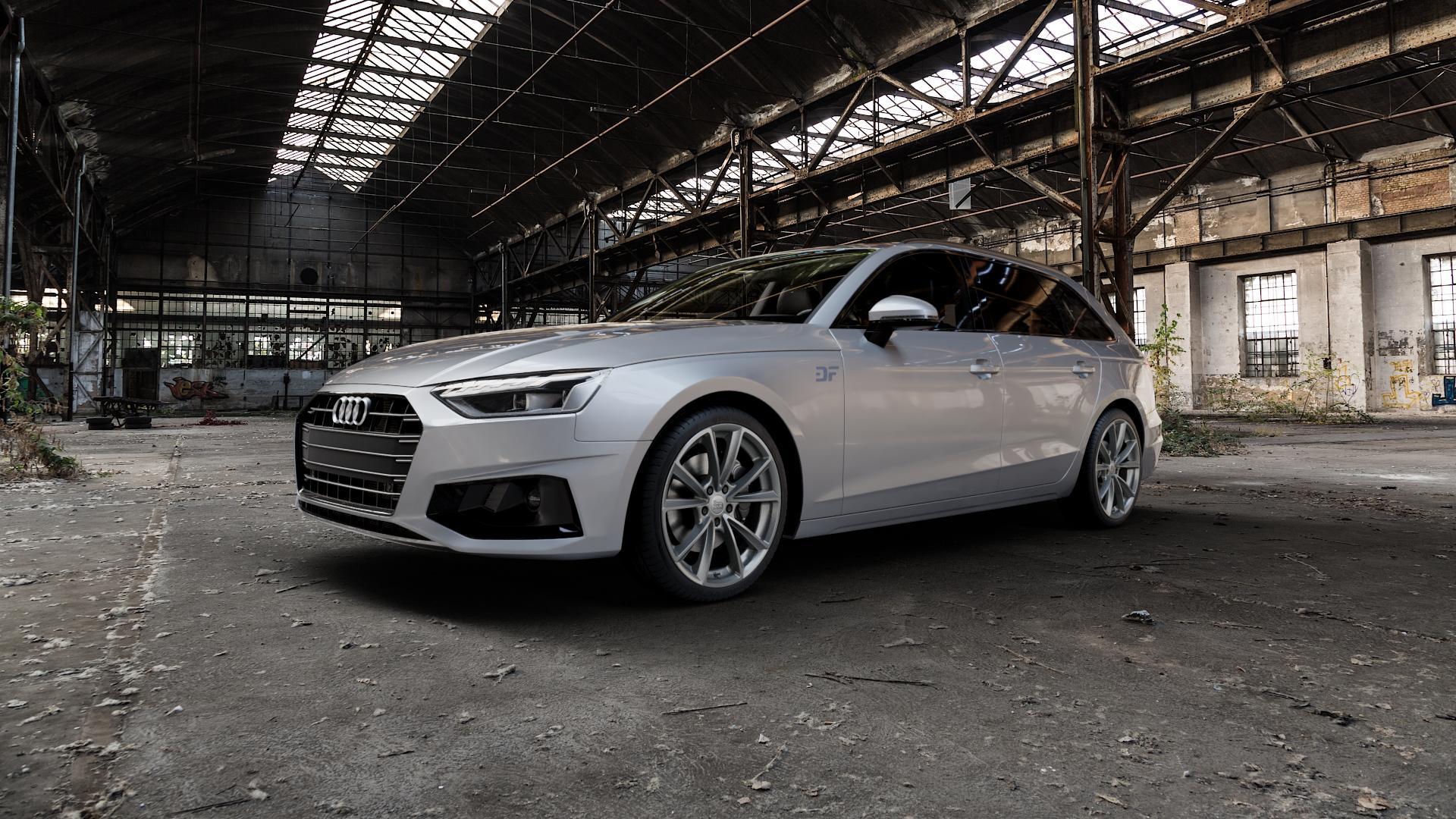 MAM A5 PALLADIUM PAINTED Felge mit Reifen grau in 19Zoll Winterfelge Alufelge auf silbernem Audi A4 Typ B9 (Avant) Facelift ⬇️ mit 15mm Tieferlegung ⬇️ Industriehalle 1 Camera_000