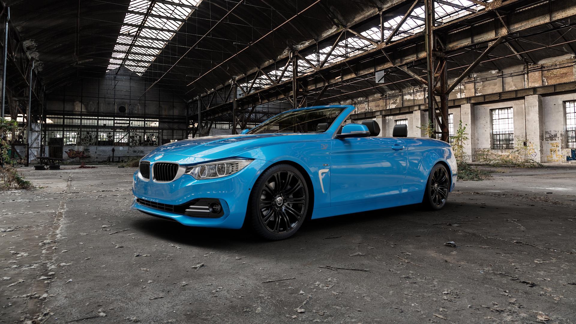 MAM B1 BLACK PAINTED Felge mit Reifen schwarz in 19Zoll Winterfelge Alufelge auf hellblau BMW 428i Typ F33 (Cabrio) 435i 420d xDrive 420i 425d 430d 435d 430i 440i ⬇️ mit 15mm Tieferlegung ⬇️ Industriehalle 1 Camera_000