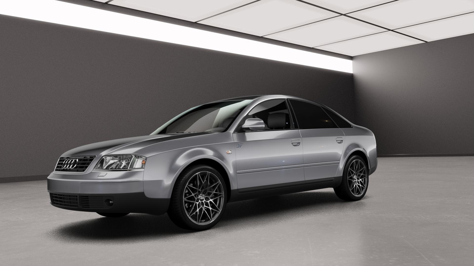 MAM B2 BLACK FRONT POLISH Felge mit Reifen schwarz in 18Zoll Alufelge auf silbernem Audi A6 Typ 4B/C5 (Limousine) ⬇️ mit 15mm Tieferlegung ⬇️ Neutral_mid_max5300mm Frontansicht_1