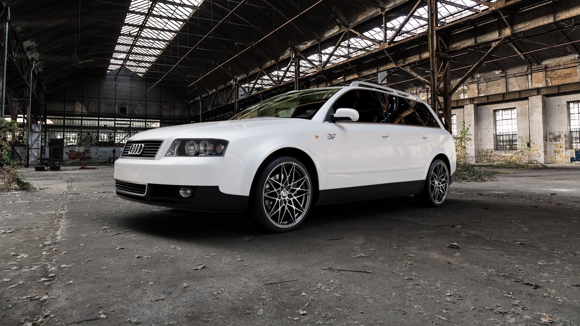 MAM B2 BLACK FRONT POLISH Felge mit Reifen schwarz in 19Zoll Winterfelge Alufelge auf weissem Audi A4 Typ 8E5/B6 (Avant) ⬇️ mit 15mm Tieferlegung ⬇️ Industriehalle 1 Camera_000