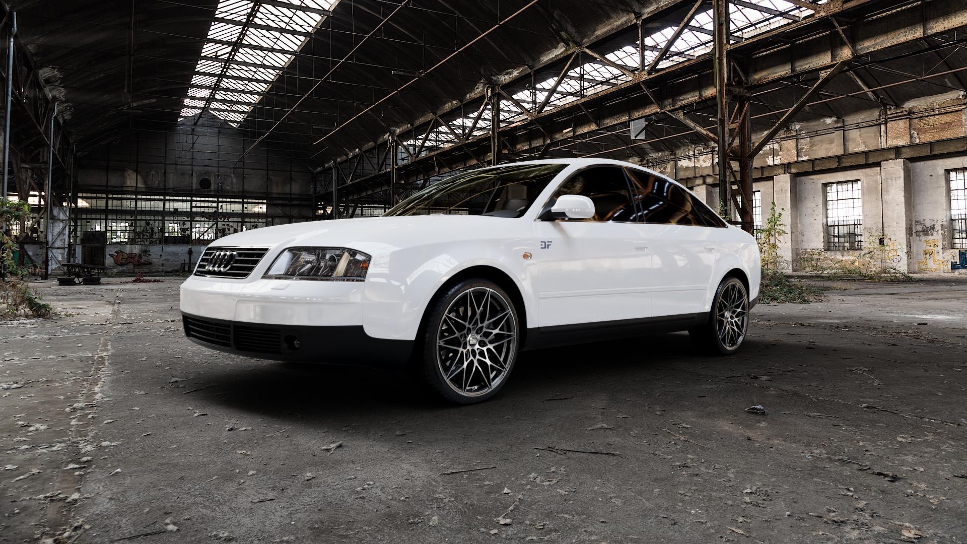 MAM B2 BLACK FRONT POLISH Felge mit Reifen schwarz in 19Zoll Winterfelge Alufelge auf weissem Audi A6 Typ 4B/C5 (Limousine) ⬇️ mit 15mm Tieferlegung ⬇️ Industriehalle 1 Camera_000
