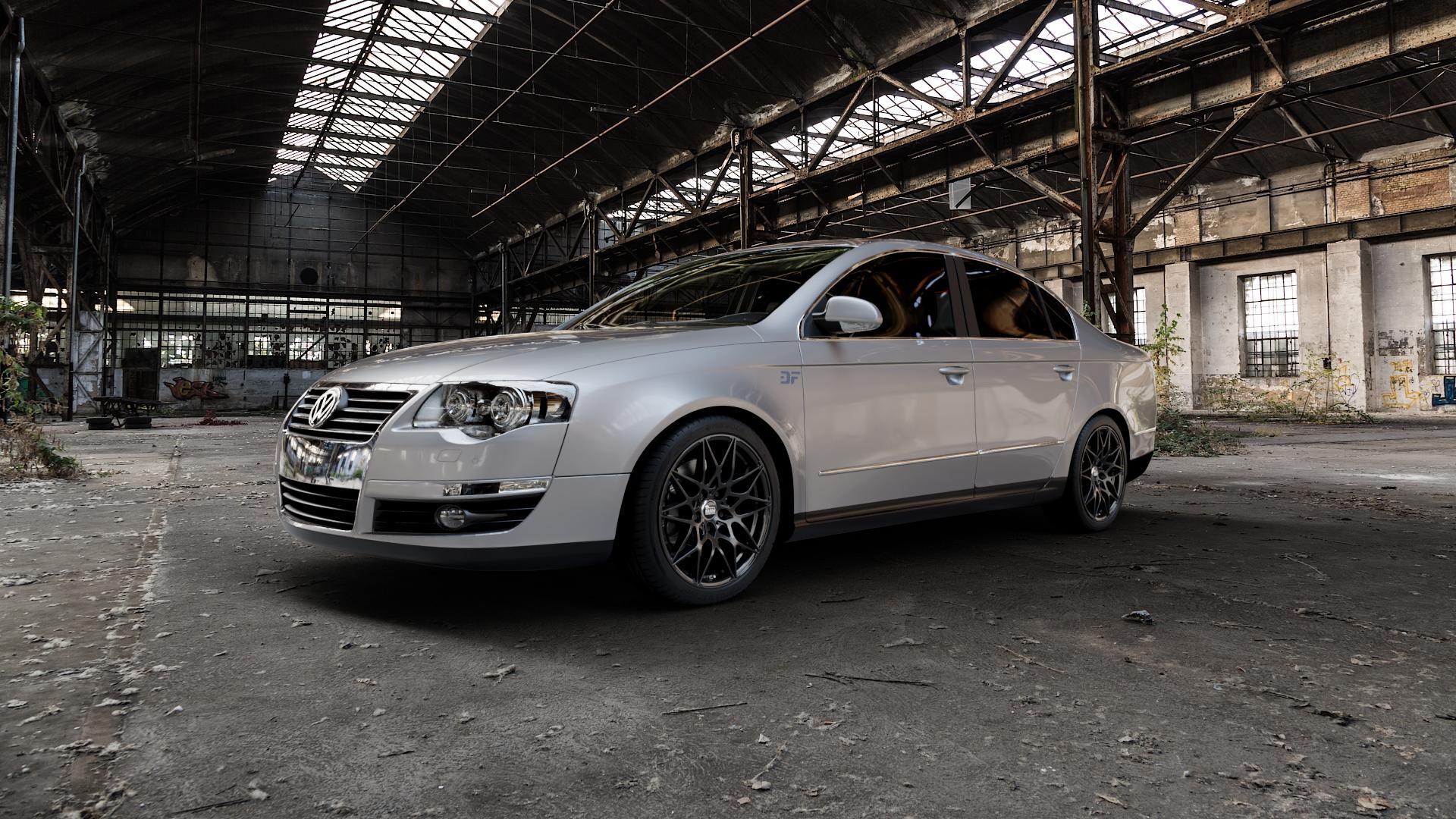 MAM B2 BLACK PAINTED Felge mit Reifen schwarz in 18Zoll Winterfelge Alufelge auf silbernem Volkswagen (VW) Passat 3C/B6 Limousine ⬇️ mit 15mm Tieferlegung ⬇️ Industriehalle 1 Camera_000