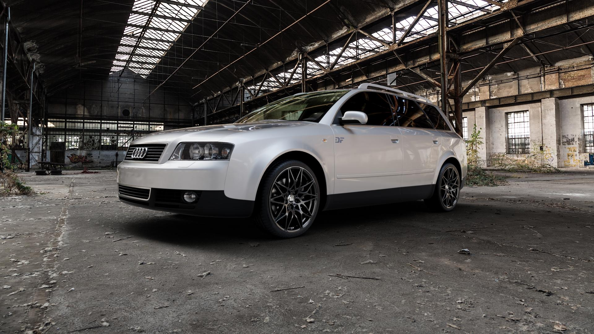 MAM B2 BLACK PAINTED Felge mit Reifen schwarz in 19Zoll Winterfelge Alufelge auf silbernem Audi A4 Typ 8E5/B6 (Avant) ⬇️ mit 15mm Tieferlegung ⬇️ Industriehalle 1 Camera_000