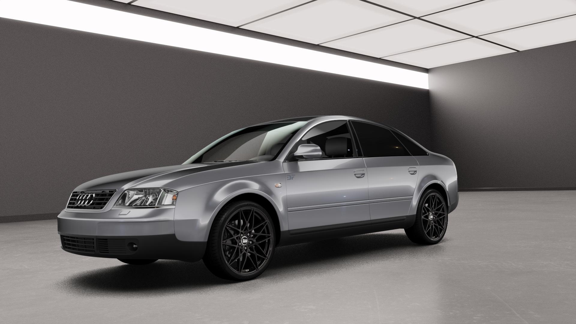 MAM B2 BLACK PAINTED Felge mit Reifen schwarz in 19Zoll Winterfelge Alufelge auf silbernem Audi A6 Typ 4B/C5 (Limousine) ⬇️ mit 15mm Tieferlegung ⬇️ Neutral_mid_max5300mm Frontansicht_1