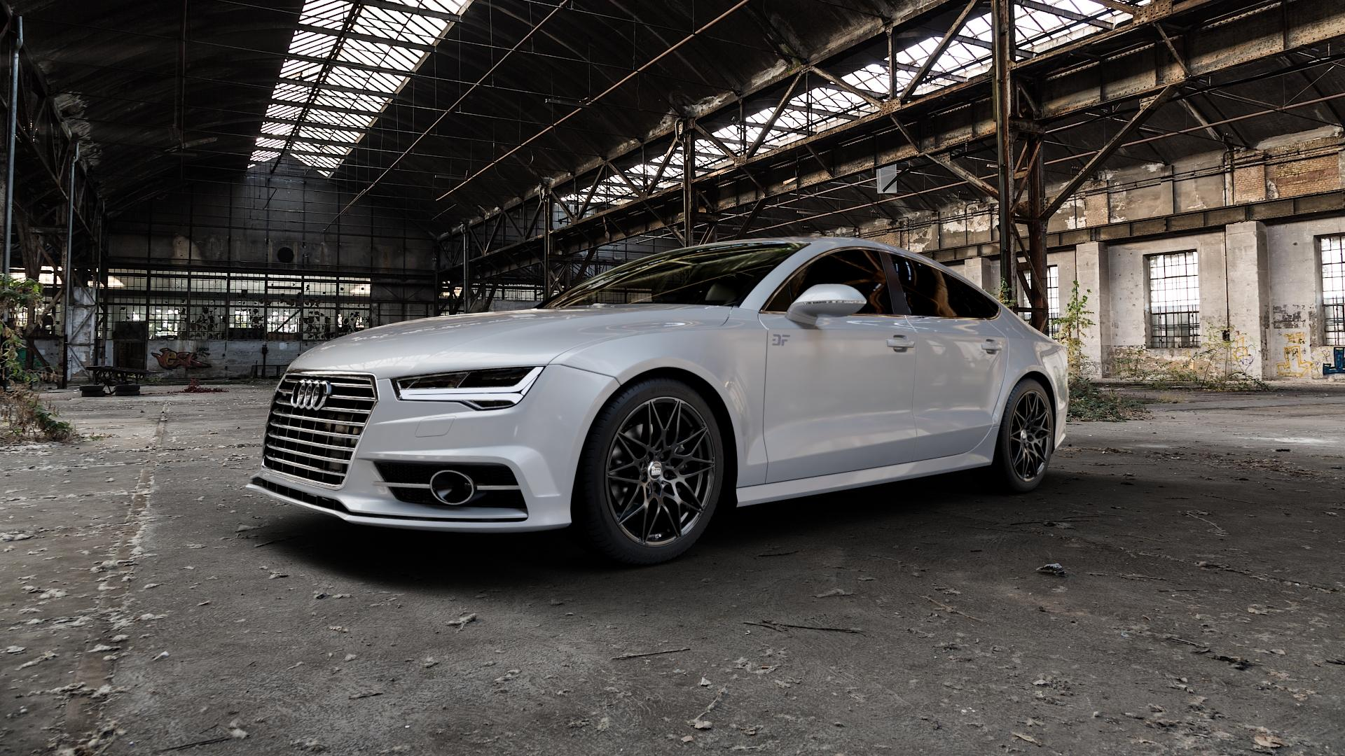MAM B2 BLACK PAINTED Felge mit Reifen schwarz in 19Zoll Winterfelge Alufelge auf silbernem Audi A7 Typ 4G (Sportback) Facelift ⬇️ mit 15mm Tieferlegung ⬇️ Industriehalle 1 Camera_000